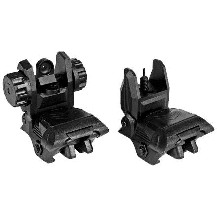 Sniper Polymer Flip up Backup Sight Front and Rear Sight 20mm Rail (Black)