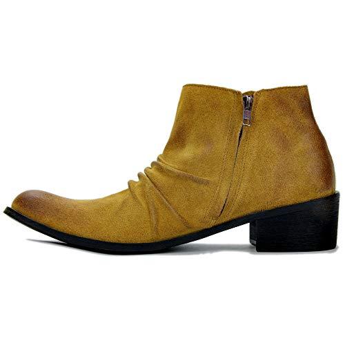 Wsreyj Halbschuhe High-Top-Schuhe Herren Martin Stiefel Herrenstiefel Cowboystiefel Lederkombis_Gelb_Us8 = 41
