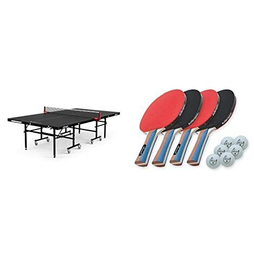 Killerspin MyT4 BlackPocket Table Tennis Table and JETSET4 Paddle and Ball Set