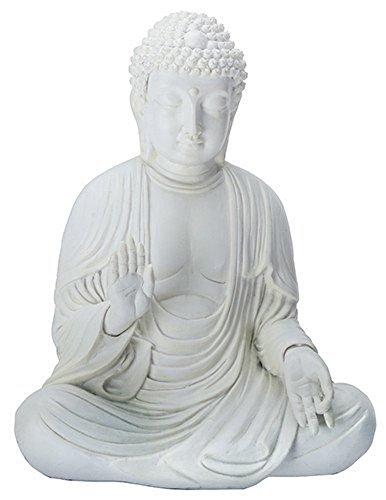 Amida Buddha Meditating Teaching Mudra Statue White, Resin 5.25' H