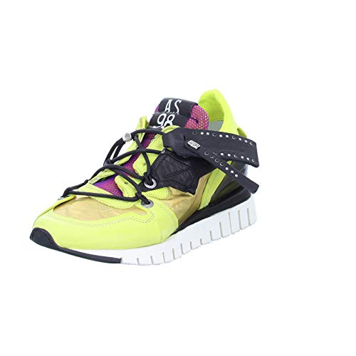 Damen Sneaker A.98 A13101 Freizeitschuh Lederschuh Halbschuh gelb(Combi 17 Cedro)