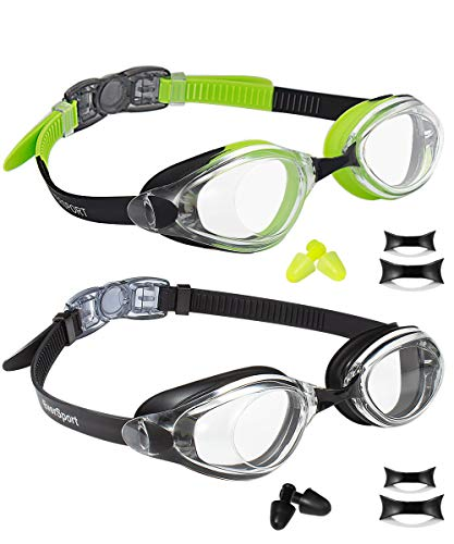 EverSport Swim Goggles Pack of 2 Swimming Glasses for Adult Men Women Youth Teenager AntiFog UV Protection ShatterProof Watertight Black amp Green/Black