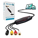 Grabador de audio y vídeo USB 2.0, adaptador para editar vídeo, digitalizador de Hi8 VHS a DVD para Mac o Windows 7 8 10 con adaptador de conversión Scart/AV
