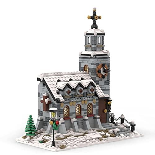 Xshion Church Little Winter Church MOC-58208 Modular Church Building Blocks Model - 1074 Pieces