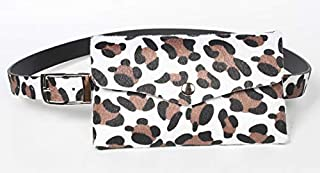 PU Pockets Women's Adjustable Pockets Leopard Decorative Belt Dual-Use Mobile Phone Pockets Women,White
