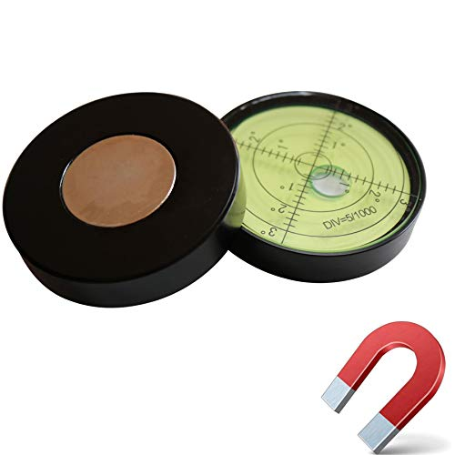Preisvergleich Produktbild Magnetische,  Dosenlibelle - Große Metall-Wasserwaage mit Luftblase,  60mm Durchmesser,  Flüssigkeit,  Gradangabe,  Boden-Wasserwaage Metallgehäuse,  Bullseye,  Grüner / Schwarz