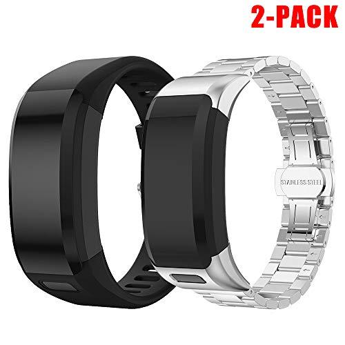 SUPORE Garmin Vivosmart HR Armband Uhrenarmband, Ersatzarmband, Zubehör Verstellbares Weiches Silikon Band Armbanduhren Entwickelt für Garmin Vivosmart HR Smart Watch (Silber + schwarz)