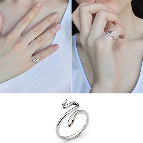 LYWZX Anillo Mujer Ajustable Anillo De Dedo De Serpiente Ajustable Plateado Plata De Apertura De Moda para Regalo De Mujer