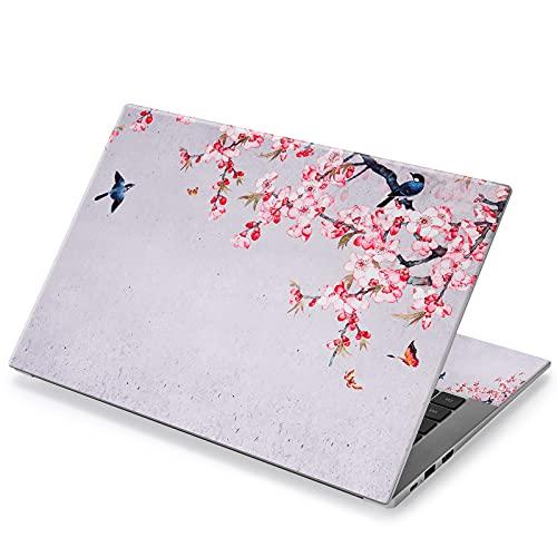 Aortdes Laptop-Aufkleber für 31,3 cm / 33,3 cm / 35,6 cm (12,1 Zoll) / 33,6 cm (14 Zoll) / 39,6 cm (15,4 Zoll) Laptops (Motiv: Vögel & Schmetterlinge & rosa Blumen)
