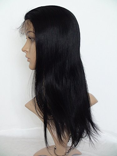 """2017 Fashion 16"""" Lace Front Wigs For Black Women Chinese Virgin Remy Human Hair Natural Straight Color #1B Off Black"""
