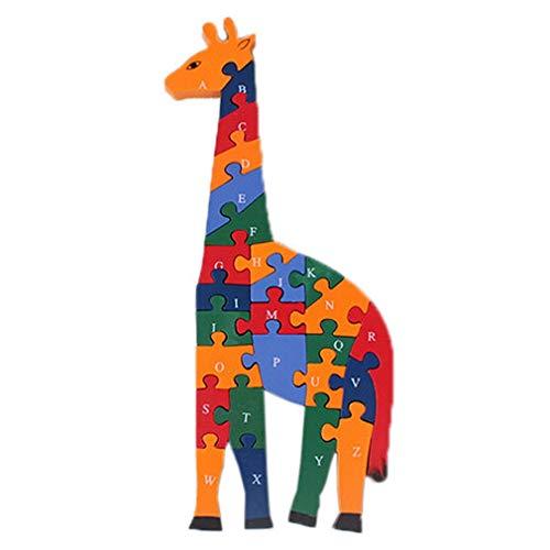 Bigood Jouet Bébé Enfant Puzzle en Bois Alphabet Chiffre Cognition Réveil Cadeau Girafe Mignon