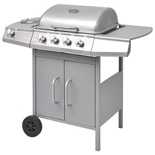 Galapara Portable BBQ Grill, Gas Barbecue Grill 4+1 Burner Gas Barbecue For Kitchen Prep with Warming Rack, Storage, Side Burner & Temperature Control