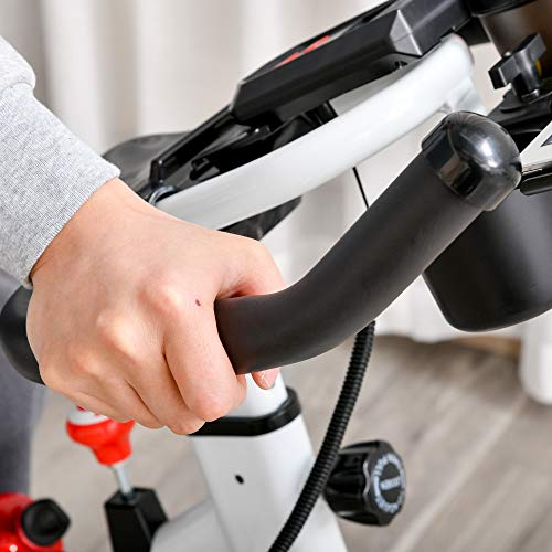 41FnDG9gEhL. SL500  - HOMCOM Bicicleta Estática Bicicleta de Fitness Pantalla LCD Asiento Manillar Ajustable Volante de Inercia 8kg Resistencia Regulable 103x53x110-114 cm Acero Blanco
