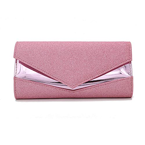 Pochette Donna Pochette da donna, pochette scintillante argento da donna, borsa a busta, borsa da sposa-rosa,24 x5,5 x12 cm
