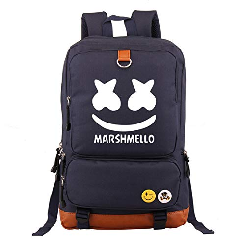 Marshmello face Alone DJ Backpack Book Bag Marshmello Children School Bags Men Women Hip Hop Backpack for Girls and Boys (navy1)