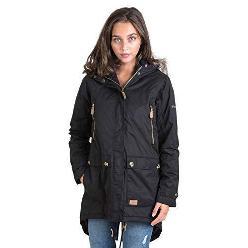 Trespass Clea, Black, M, Wasserdichte Jacke mit Einrollbarer Kapuze für Damen, Medium, Schwarz
