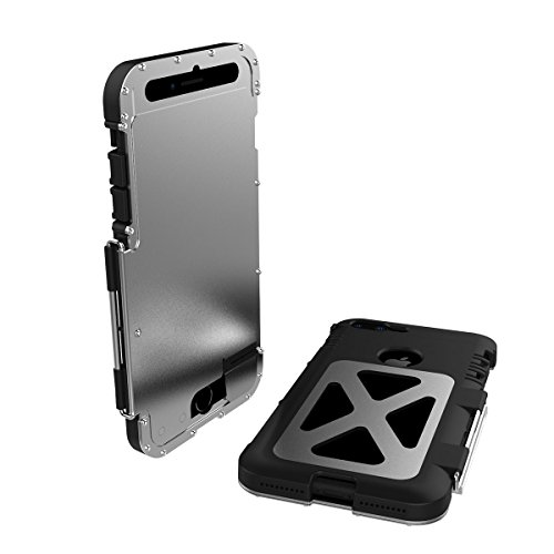 R-Just para iPhone 8 Metal Funda, Extremo Armor Acero Inoxidable + Nylon 66 Soporte Giratorio Heavy Duty Cubierta Protectora Cover para iPhone 7 Estilo de Libro Carcasa (iPhone 8/7 4.7