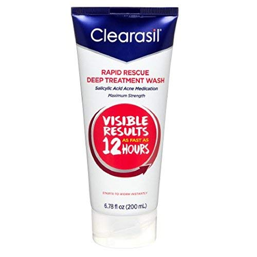 Acne Treatment Face Wash - Clearasil Rapid Rescue Deep Treatment Wash with Salicylic Acid Acne Medication for Maximum Strength to Clear Acne, 6.78 FL OZ (Pack of 2)