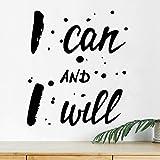 Adhesivo decorativo para pared con texto en inglés 'I can I Will para gimnasio, cita de motivación, decoración de vinilo de cocina, carteles inspiradores de fitness, motivación mural de ejercicio