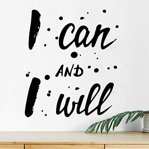 """Adhesivo decorativo para pared con texto en inglés""""I can I Will para gimnasio, cita de motivación, decoración de vinilo de cocina, carteles inspiradores de fitness, motivación mural de ejercicio"""