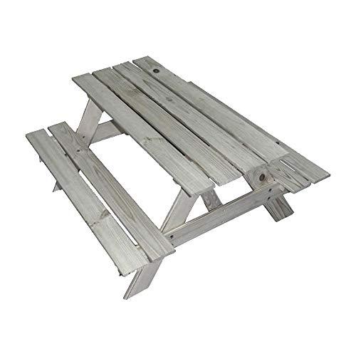 UNUS Picknicktisch für 4 Kinder - Gartentisch Farbe grau - Outdoor Sitzgarnitur 90cm