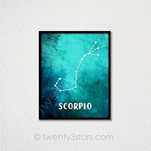 Scorpio Aquarel Poster sterrenbeeld Ster Kaart Kunst Schorpioen Geschenk Schorpioen Muur Kunst Schorpioen Poster Aangepaste Schorpioen Art Zodiac Art Print