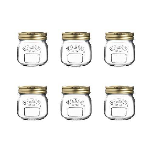 Kilner 222.467 Genuine Preserve Jar 6-Piece Set, 250 ml Capacity