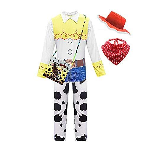 FINDPITAYA Disfraz de Jessie de Toy Story, para Halloween, Navidad, para niña, con sombrero y bolsa blanco 120 cm