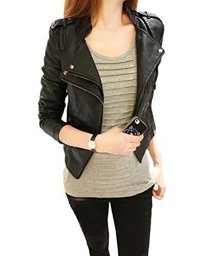 Quge Chaquetas Mujer Cremallera Jackets Imitacion Cuero Blázer Moto Cazadoras Biker Abrigos Negro L
