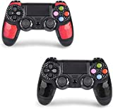 2 Pack Wireless Controllers for PS4 and Joystick for Playstation 4 Control - YU33 for DS4 Remote Joystick Support Playstation 4,Pro/Slim PS4,PC,PS TVs,Smart TV(Black+Red Diamond)