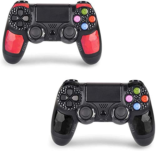 2 Pack Wireless Controllers for PS4 and Joystick for Playstation 4 Control - YU33 for DS4 Remote Joystick Support Playstation 4,Pro/Slim PS4,PC,PS TVs,Smart TV(Black+Red Diamond