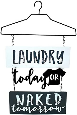 Inelkas Laundry Room Metal Decor Sign Door Wall Art for Modern Home Laundry Today or Naked Tomorrow product image