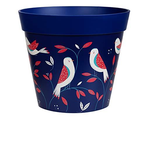 Hum Blumentöpfe, Vogel, blau, Pflanztopf, Pflanzgefäß aus Kunststoff für drinnen und draußen, 25 x 25cm