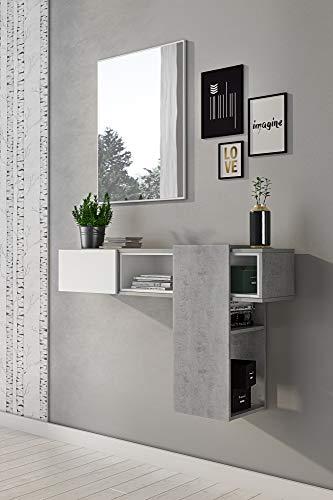 DMORA Mobile da Ingresso Moderno, Colore Cemento e Bianco, cm 100 x 155 x 27, con Specchio, UNICA