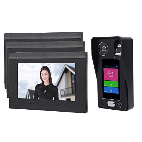 7 pulgadas LCD Timbre inalámbrico Videoportero LCD Videoportero Teléfono Timbre con 3 monitores interiores Videoportero Visión nocturna Huella digital Contraseña Reconocimiento facial(EU)