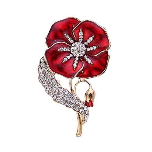 QEPOL Broche de Amapola esmaltada Pin de Solapa con Insignia Broches de Flores Rojas de Cristal Dorado, Día conmemorativo de los Veteranos Domingo Unisex para Mujeres Hombres (Rojo)