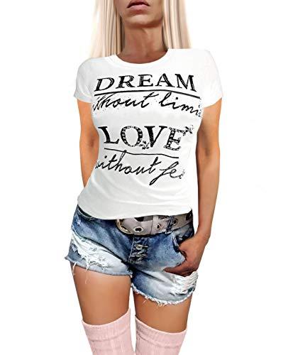 Dames katoen korte mouwen T-shirt met steentjes en opdruk Stretch in de kleuren grijs gemêleerd zwart mosterd wit