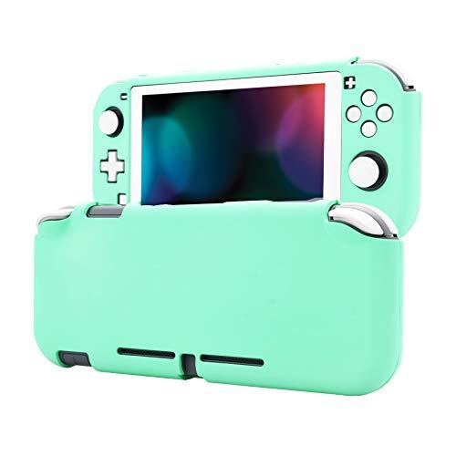 eXtremeRate PlayVital Funda para Nintendo Switch Lite Carcasa Tacto Suave Estuche Acoplable con Protector de Pantalla de Vidrio Templado Protectora Duradera para Control Switch Lite(Verde Menta)