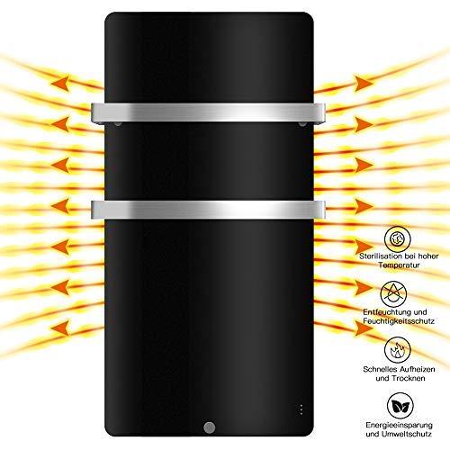 MICRO ENERGY SOLUTIONS Handtuch Heizkörper Bad Handtuchwärmer Elektrisch 580 x 1090 mm Handtuchtrockner Badheizkörper,Handtuchhalter-Funktion Weiß (58 x 109 cm(600 W), Schwarz)
