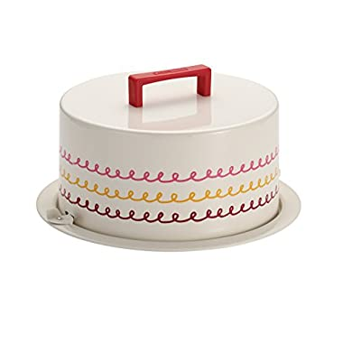"Cake Boss Serveware Metal Cake Carrier, ""Icing"", Cream"