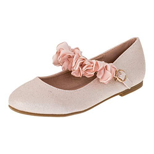 Doremi Edle Festliche Kinder Mädchen Prinzessinnen Schuhe Ballerinas mit Schnalle M512rs Rosa 32 EU