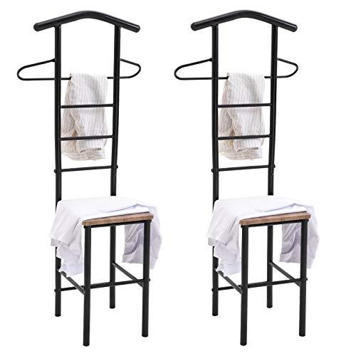 CARO-Möbel Herrendiener JIVO 2er-Set Stummer Diener Kleiderständer, Metallgestell schwarz und Ablage in Wildeiche, 121 cm, Garderobe mit Hosenbügel