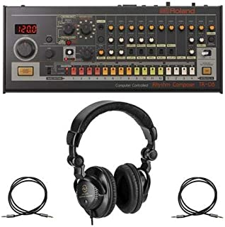 Roland Boutique TR-08 Rhythm Composer - Bundle With H&A Closed-Back Studio Monitor Headphones, 2 Pack H&A Stereo Mini Male to Stereo Mini Male Auxilary Cable (Gold Series) 3'