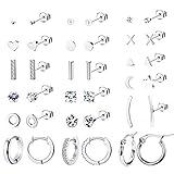 Thunaraz Lot de 18 paires de boucles d'oreilles à tige en acier inoxydable 316L avec étoile et lune pour homme et femme