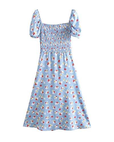 JianJud Langer Damenrock, geblümtes französisches Kleid mit Puffärmeln und französischem Plissee A,L