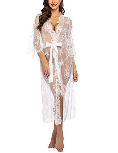 Avidlove Damen Dessous Kleid Lang Kimono Spitze Negligee Nachtwäsche Transparente Robe Set Cardigan mit Gürtel und G-String Bikini Cover up Weiß XL