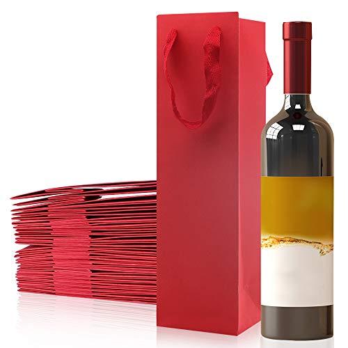 Bolsa de vino de 25 Botella individual, botella del regalo de Champán del vino del papel de Kraft que llevan los bolsos con las (rojo)