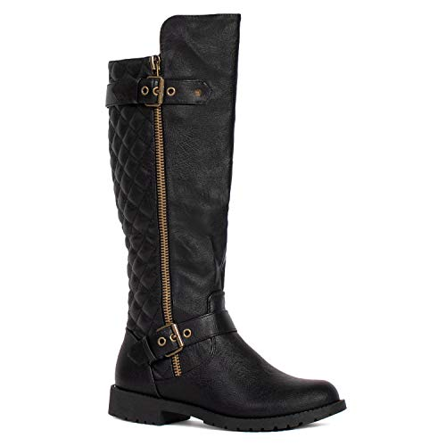 RF ROOM OF FASHION Medium Calf Knee High Hidden Pocket Riding Boots Black PU Size.7.5
