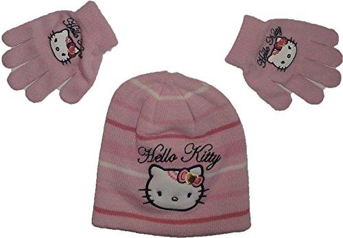Hello Kitty Winterset Handschuhe-Mütze in Pink gestreift Gr. 52