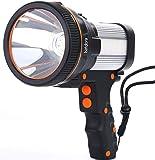 Super Bright Handheld Flashlight,Rechargeable Spot Lights Hand Held,7000 Lumens 6600 mAh LED Flashlight Spotlight,Waterproof Portable for Outdoor Camping Adventure Emergency (Silver)
